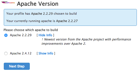 Apache version selection.