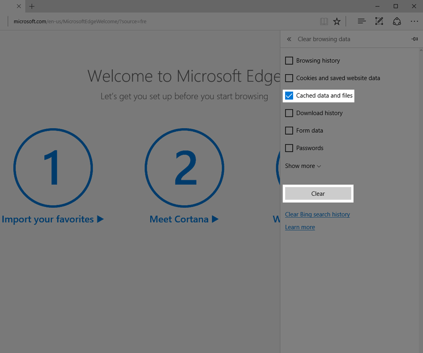 Clear options in Edge.