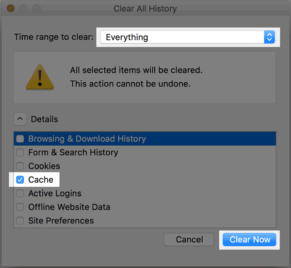 History options in Firefox.