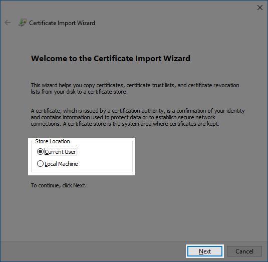 The certificate import wizard