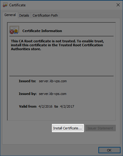 The install certificate button.