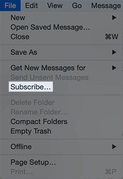 The file menu with the subscribe option.