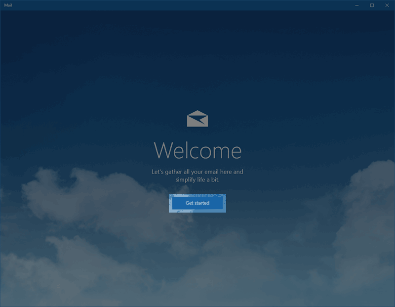 Windows 10 Mail Getting Started button.