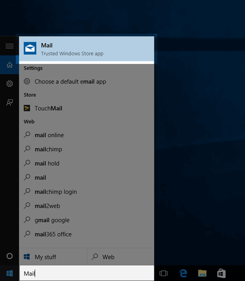 Searching Mail in Windows 10