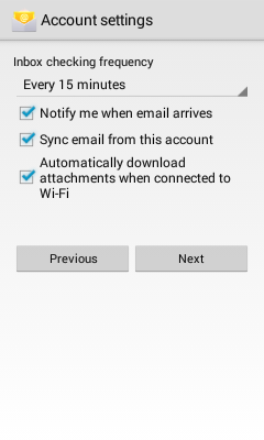 Email Application Setup - Android 4 4 KitKat or earlier